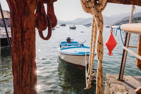 Fishing boat tied to a pier in Montenegro