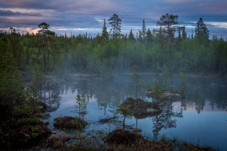 Summer Night landscape in the north of the Kola Peninsula in Russia. White nights, lakes, forests and haze in the swamps