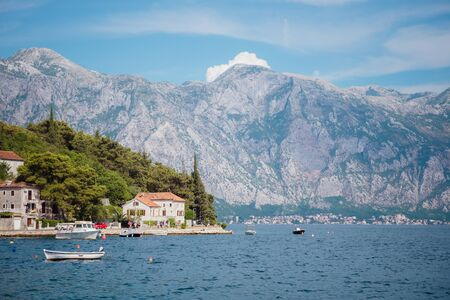 Sea-front in Perast. Kotor bay, Montenegro