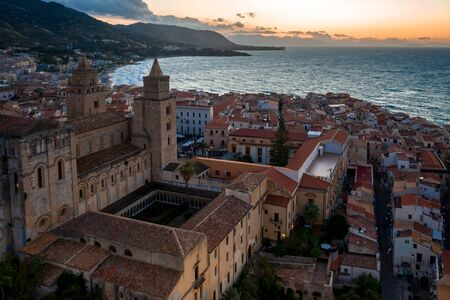 Aerial view evening cityscape of Cefalu town with Chiesa di Cefalu, Sicily, Italy