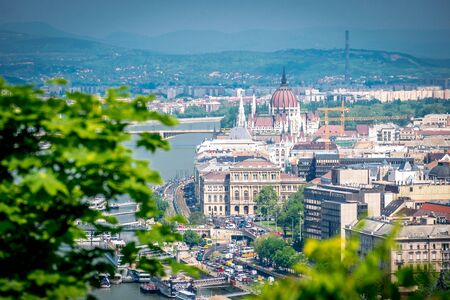 Budapest cityscape with Hungarian parliament building and Danube river, Hungary Standard-Bild