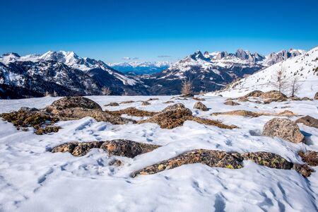 Sunny winter landscape at Ski Area in Dolomites, Italy - Alpe Lusia. Ski resort in val di Fassa near Moena 版權商用圖片
