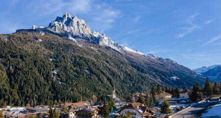 Winter landscape of Vigo di Fassa, a commune in Trentino at the northern Italia. Val di Fassa, Dolomiti