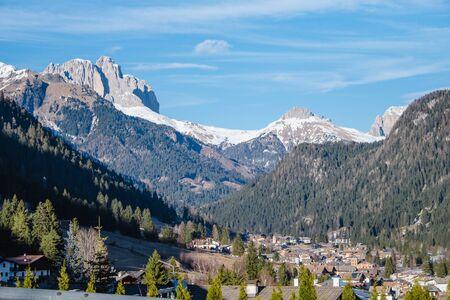 Winter landscape of Pozza di Fassa, a commune in Trentino at the northern Italia. Val di Fassa, Dolomiti