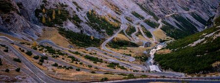 Passo Dello Stelvio mountain road, autumn
