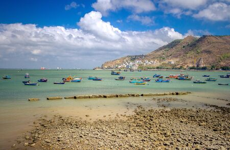 colored fishing boats in the bay in vietnam