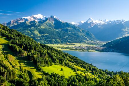 View of Lake Zell am See in summer