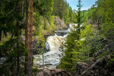 Kivach waterfall in Karelia, Russia.