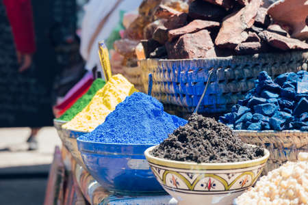 MARRAKESH, MOROCCO - APRIL 10, 2019: Traditional spices in a market of medina of Marrakesh