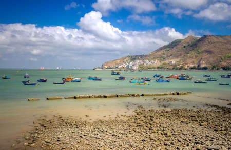 Colorful local fishing boats anchored in the bay at Vung Tau, Vietnam Stock fotó - 150616108