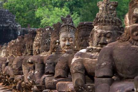 SIEMREAP, CAMBODIA - MARCH 13 2013: Ruins of Angkor Wat, part of Khmer temple complex. Angkor Park Editorial