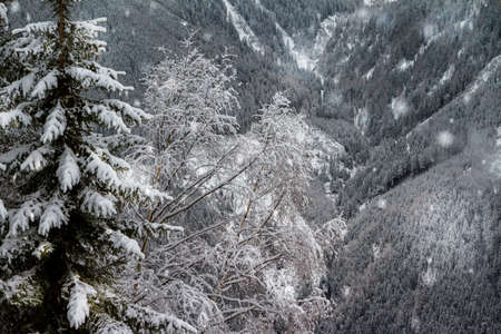 Famous Austria's resort town of Bad Gastein in Alps mountains. Frosty winter day