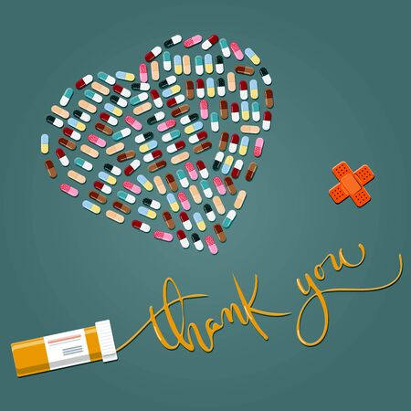 A thank you card for a doctor, nurse,or pharmacologist. A pill heart and thank you calligraphy on a dark green background. Congratulations on the international medical day