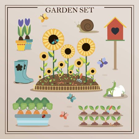 a set of flat images of garden items. Flowers, seedlings, shovel, garden gnome, rainbow in a retro selection. Vector illustration. Vettoriali