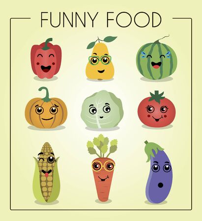 A set of flat vegetables and fruits with cartoon faces. Funny characters from food. Different emotions laughter, embarrassment, surprise on watermelon, pear, pepper, pumpkin, cabbage, tomato, corn, carrot and eggplant.