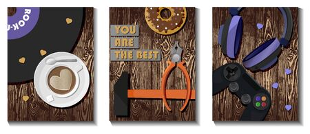 flyers cards for father s day, congratulations on defender s day. Card for the music lover, the gamer or master. Postcards with a checkered background.