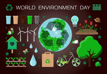 Poster with a set of items for world environment day. Flat vector illustration with the theme of ecology and Earth protection. Water ecology, waste separation, eco-friendly energy sources and greening the planet. Icons set.