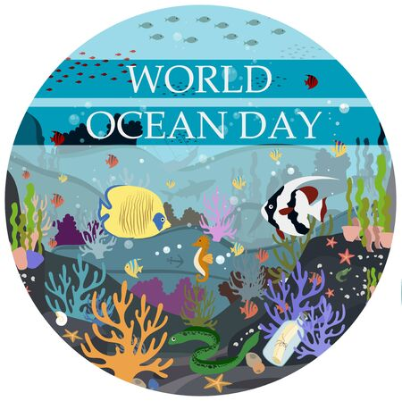 Vector flat illustration of the underwater world. Postcard-poster for the world ocean day on June 8. Protection of nature, underwater world and marine animals. Tropical underwater flora and fauna. A bright picture of many objects.