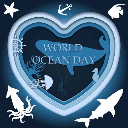 Cut out of blue and blue paper, a multi-layered picture of the underwater world. Vector illustration of the depth of the ocean with sea animals and algae in the form of a heart. Postcard for world ocean day on June 8. Poster for divers and environmentalists and the world s oceans.