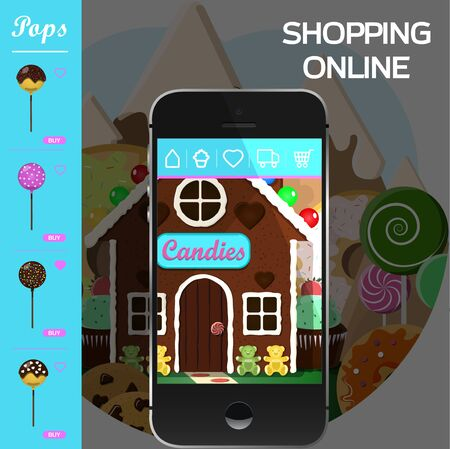 online application for a sweet shop and bakery. Gingerbread house as a store of sweets, cakes, cakes and donuts with fast home delivery. ordering via a smartphone, tablet, or website. Vector illustration for advertising