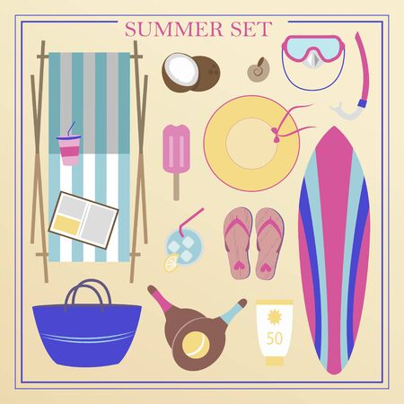 A set of flat beach summer items. Accessories for beach holidays by the sea. Swimsuit, diving cylinders, sunbed, camera and other icons for creating summer posters. Illustrations for ads, web, flyers, and banners.
