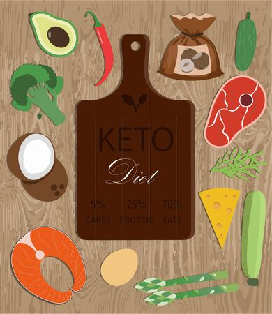 cutting Board and a set of products for the keto diet. Flat illustration with fat healthy foods for ketosis. Salmon, steak, avocado, vegetables, oil. Healthy ketogenic diet. Poster for advertising and familiarization with the keto diet. Ilustracja