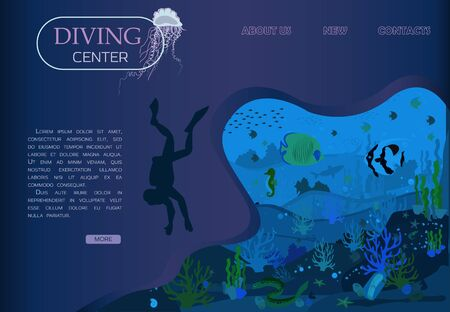 Scuba diving, scuba diving and marine life in a flat design. Vector of underwater seascape underwater world and ocean wildlife reef, exotic fish, scuba diver, Portuguese boat. Home page for the diving center, for the smartphone app. Poster for banner and advertising