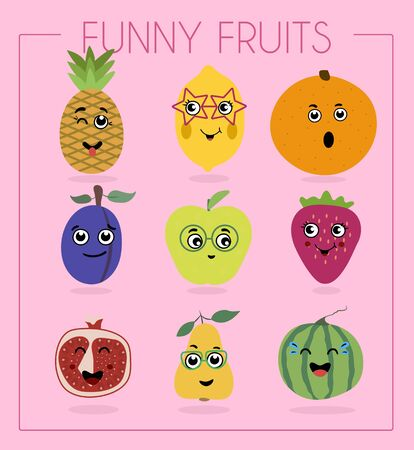 I love vegetables. Funny cartoon character. Vector illustration. A set of flat vegetables and fruits with cartoon faces. Funny characters from food. Different emotions laughter, embarrassment, surprise on watermelon, pear, pepper, pumpkin, cabbage, tomato, corn, carrot and eggplant.