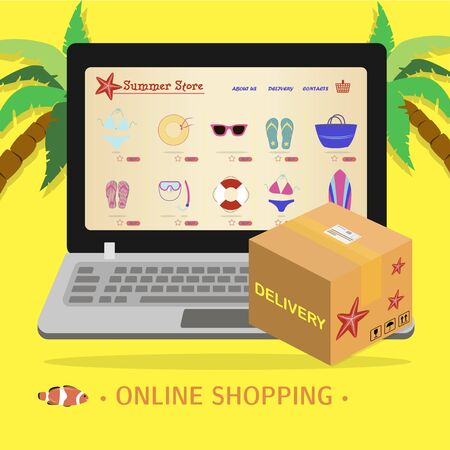 laptop screen with an online store of beach equipment and uniforms for surfing and sea recreation. Flat illustration of the site with products and their delivery to the buyer s home. A smartphone app or website selling everything for a beach holiday. Ads on your hobby s home page and a delivery box on your laptop.