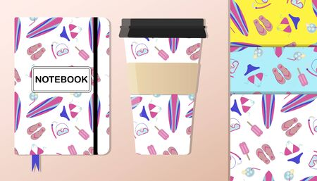 A pattern with summer accessories a swimsuit, surfboard, flip-flops, a set for snorkeling ice cream and cooling drinks. The background is depicted on a notebook and coffee cups. Background for flat illustrations on a summer, beach theme, for scuba diving, surfing, and beach wear. A pattern with pink, purple, and blue colors.