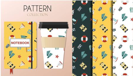 A pattern with summer accessories a swimsuit, surfboard, flip-flops, a set for snorkeling, diving balloons and cooling drinks. The background is depicted on a notebook and coffee cups. Background for flat illustrations on a summer, beach theme, for scuba diving, surfing, and beach wear. A pattern with yellow, white and green colors.