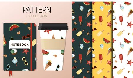 Pattern with summer items sunglasses, starfish, shells, coconut cocktail, watermelon, ice cream and cooling drinks. The background is shown on Notepad and coffee cups. Background for flat illustrations on summer, beach, leisure and vacation themes. Pattern in red, brown and yellow