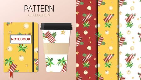 Pattern with summer items palm trees, sun beds, turtles, a hat and sea stars. The background is shown on Notepad and coffee cups. Background for flat illustrations on summer, beach, leisure, and vacation themes. Pattern with red, yellow and green colors. Иллюстрация