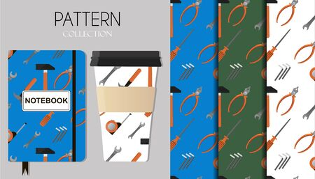 Seamless pattern with repair tools, hammer, tape measure, wrench, screwdriver, pliers. The background is displayed on Notepad and coffee cups. Seamless pattern with repair working tools icons.