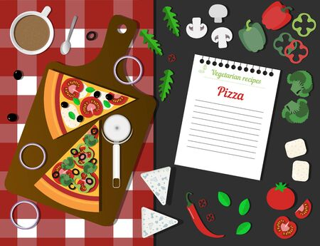 Italian vegetarian pizza, a leaf with a recipe and ingredients. Top view of a table with a checkered napkin, pizza slices, a knife and vegetables. Everything for cooking vegan pizza, peppers, tomatoes, onions, olives, arugula, oregano, mushrooms and soy cheese. A leaf from a notebook with vegetarian recipes to write down.