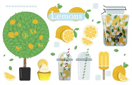 A set of flat images with lemons and lemonade. Vector illustration of a glass of lemonade with ice and mint to take away, lemons cut and whole, lemon tree, cake and ice cream. A set of all types and products from lemon. Summer set with lemonade and it s ingredients. Lemon, mint, jug, ice, glass