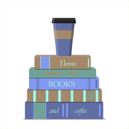 A vertical stack of books and a Cup of coffee. Lettering on books I love books and coffee. Vector flat illustration in nice pastel colors. Books and sweets for recreation, summer, vacation, weekend and joy. Pleasant learning, education, and summer reading