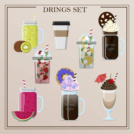 Set of different delicious vector drinks cocktails, coffee, smoothies, tea, milkshake, lemonade, ice coffee. Flat illustration of insulated glasses, glasses, mugs and plastic cups for cold and hot drinks. Drinks with cream, fruit, toppings, a straw and a cocktail umbrella for a summer party and relaxation. Illustration