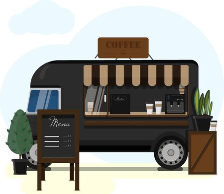 Street van selling coffee. Flat vector illustration of a mobile cafeteria with a canopy, Billboard and coffee machine. Stylish wooden counter with coffee to take away. Street food, summer mobile black van for Park, square, market, fair and city streets.