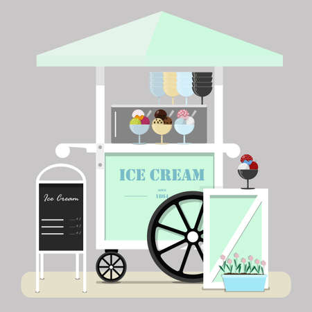 Flat cute ice cream cart. Diner in the Park, at the fair, street and festival. Vector illustration in pastel green and blue tones. Point of sale of ice cream,   Gelato, ice and milkshakes. Cold ice cream for children and adults on a walk in the fresh air. Vettoriali