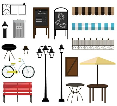 A set of vector items for street, Park or garden design. Bench, bicycles, fence, awnings, street lamps, garden furniture, trash cans, chimney, and signs for decorating a house, store, or building. Flat design illustration with isolated street objects on a white background. Ilustração