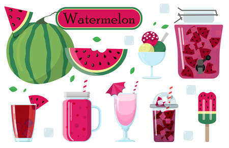 Set of vector illustrations of watermelon and food from it. Watermelon smoothie, cocktail, ice cream on a stick, ice cream balls, alcoholic cocktail, milkshake. A set of images for world watermelon day in August. Set for creating summer illustrations.