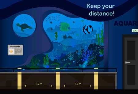Vector illustration of the aquarium. An internal room with aquariums and markings for keeping the distance during quarantine and pandemics. Lines for visitors to the aquarium for a distance of one and a half meters. Introductory banner for children and adults who came to the sea tour. Poster for summer 2020 Ilustração