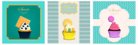 Set of Cupcakes with topping in a retro style with a geometric background and retro elements. Vector greeting card for a birthday or holiday. Dessert for a website, bakery, menu, or pastry shop