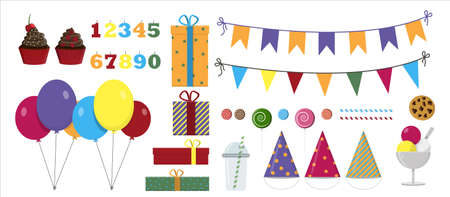 Vector set for a party, birthday. Flat illustration design with balloons, gifts, garlands, sweets and drinks. All holiday items in the same style. Bright caps for children s events