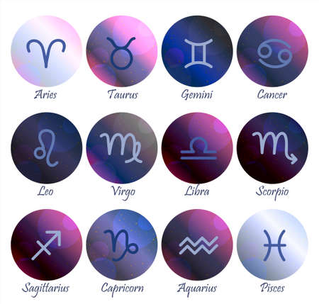 Constellations of the horoscope with symbols of the zodiac signs on a gradient purple-pink starry sky. Planets, stars and constellations in space. Telescope to study the stars. illustration of astrology and astronomy. horoscopes bright stars in cosmos.
