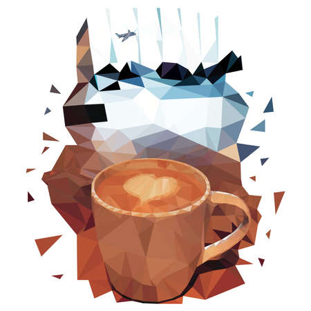illustration of polygons cappuccino Cup with a heart on milk foam. Cafe with coffee in the waiting room at the airport. People and huge Windows with a plane in the background.