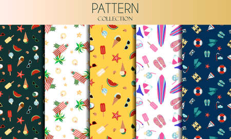 Vector set of seamless patterns with summer accessories a swimsuit, surfboard, flip-flops, a set for snorkeling, diving balloons and cooling drinks. The background is depicted on a notebook and coffee cups. Background for flat illustrations on a summer, beach theme, for scuba diving, surfing, and beach wear. A pattern with yellow, white and green colors.