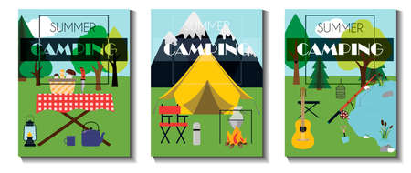 A set of flat vector leaflets for summer camping, Hiking and tourism. Three flyers with a tent, picnic table, basket of mushrooms, fire, fishing rod, guitar and camping equipment. Flyers with a rear view of mountains and forests. Illustrations for an ad, website, app, banner, or booklet.