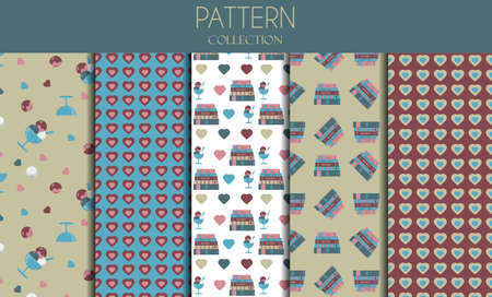 A set of seamless patterns with books, ice cream and hearts. Vector flat patterns in pastel colors. A stack of books with ice cream balls and topping. The inscription I love books . Illustrations for school, study, education, for children and students.